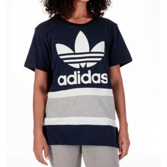 Adidas Originals Blue Adidas Chita Boyfriend Trefoil Tee Multicolor
